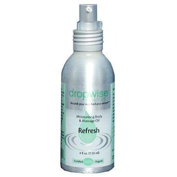 Dropwise Essentials Certified Organic Body & Massage Oil - Refresh Aromatherapy Blend [Refresh]