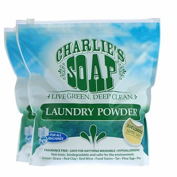 Charlie's Soap – Fragrance Free Powder Laundry Detergent – 300 Loads (8 lbs, 2 Pack)