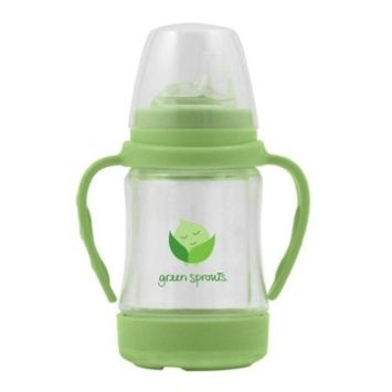 green sprouts Glass Sip & Straw Cup | Liquids only touch silicone & glass | Drip-free silicone straw and sippy spouts included, Plastic shell protects from breakage, Dishwasher safe