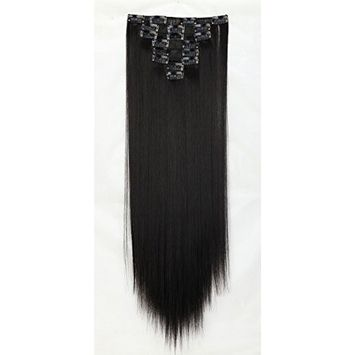 Hairpieces Clip in Synthetic Hair Extensions Japanese Kanekalon Fiber Full Head Thick Long Straight Soft Silky 8pcs 18clips 23'' / 23 inch (1B# Natural Black) by Beauti-gant