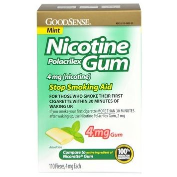 GoodSense Nicotine Polacrilex Gum 4mg, Mint, 110-count, Stop Smoking Aid, GoodSense Smoking Cessation Products [Mint, 4 mg]