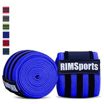 Knee Wraps For Powerlifting, Gym, Crossfit & Crossfit Equipment - Premium Powerlifting Knee Wraps - Best Knee Wraps For Squats - Ideal Knee Straps Weightlifting & Knee Straps For Squats - Blue