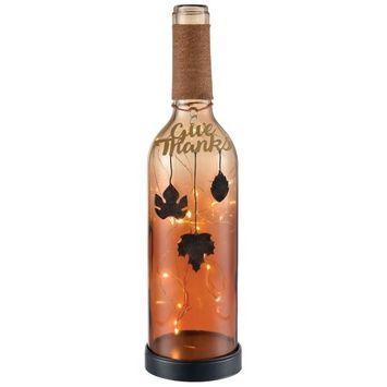 San Miguel Light-Up Wine Bottle Thanksgiving Table Decor