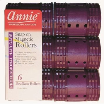 Annie Snap on Magnetic Rollers 6 pack X-Jumbo #1219, Hair curls, holds hair secure, easy to use, for all hair types