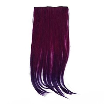 SODIAL(R) Clip In Straight Blue Purple Hair Extension Synthetic Fiber Hairpiece Punk