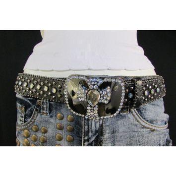Women Black Genuine Leather Western Fashion Belt Metal Cross Buckle