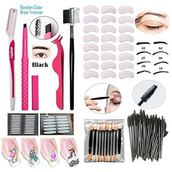 Eyebrow Pencil Beauty Set Eyebrow Trimmer Brow Tweezers False Eyelash Curler 24 Pcs Template Stencil Card 100Pcs Disposable Eyelash Brushes Magic Eyelid Sticker