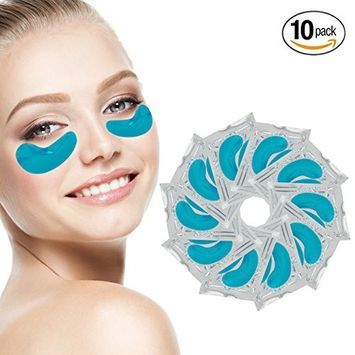 Anti Aging Set of 10 Pairs Blue Marine Algae Seaweed Collagen Eyes Masks Patches Pads for Intense Hydration Moisturizing, Firming Lifting, Wrinkles Removal and Melanin Reduction Whitening Brightening