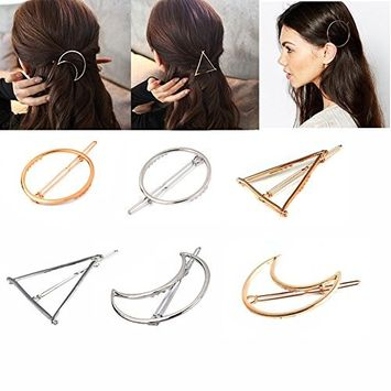 6PCS Women Lady Girl Silver Gold Hollow Geometric Metal Hair Clip Clamps Hairpin Circle Triangle and Moon Side Hair Pin Barrettes Hair Accessories