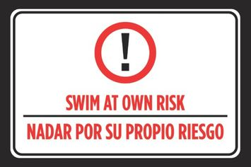 Icandy Combat Swim At Own Risk Nadar Por Su Propio Riesgo Spanish Print Red Black White Swimming Pool Rules Outdoor Poster Sign Larg