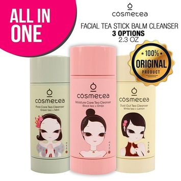 3-PACK COSMETEA Facial Tea Stick Balm Cleanser 2.3oz, 3 Options All-in-One, K-Beauty Stick Cleanser