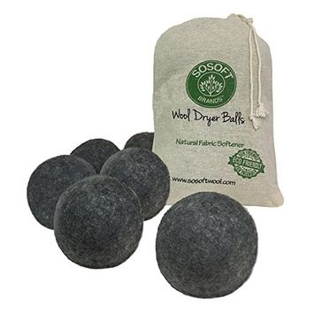 SoSoft Wool Dryer Balls 100% Premium So Soft Wool Dryer Balls XXL Hand Made in Nepal All Natural Eco Friendly All Natural Fabric Softener (Black and Gray)