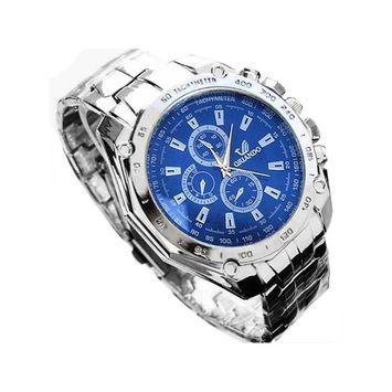 unbrand - Men's Fashion Stainless Steel Belt Sport Business Quartz Watch Wristwatches HFON [name: actual_color value: actual_color-blue]