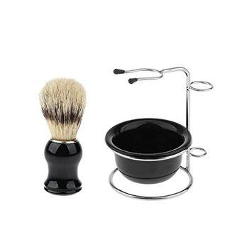 Homyl Wood Shaving Brush + Stainless Steel Shave Stand Holder + Plastic Bowl Set