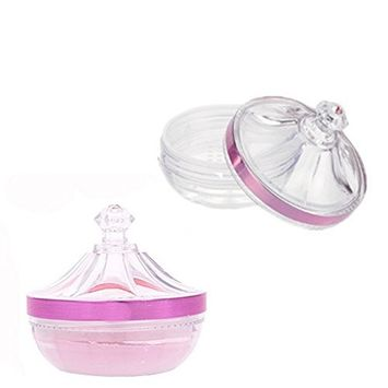 Clear Empty Refillable Castle Style Acrylic Powder Puff Case Make-up Loose Powder Foundation Container With Sponge Puff and Sifter Jewelry Accessories Box for Xmas Gift and DIY