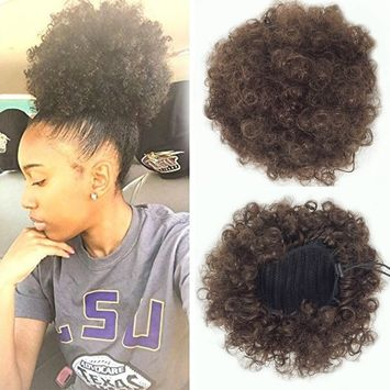 African American Afro Short Kinky Curly Wrap Drawstring Puff Ponytail Bun Extension