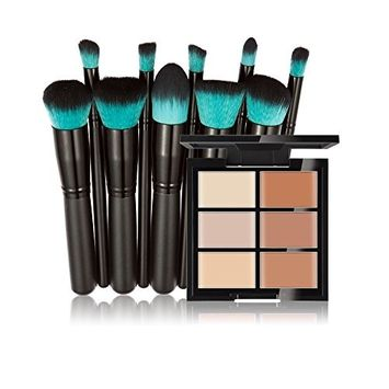 Huamianli Makeup Cosmetic Kit 6 Colors Face Concealer Contour Palette Cream + 10Pcs Cosmetic Brushes Set