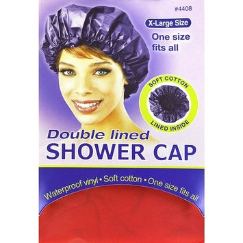Annie X-Large Size Doubled Lined Shower Cap (Red) #4408