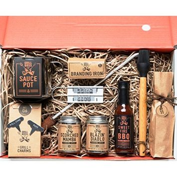 'Branded & Grilled: A BBQ Grill Masters Gift Box' by Thoughtfully | Includes a Collection of 2 Gourmet Sauces, 2 Dry Rub Seasonings, Grilling Tools & Branding Tools : Grocery & Gourmet Food