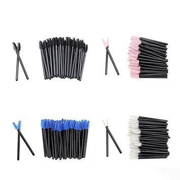 Upgrade Mini Mascara Wands Disposable Eyelash Brushes for Extensions Eye Brow Brush Makeup Tool Bulk, 200 Pack Set, 4 Colors