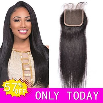 HVAXING Brazilian Straight Virgin Hair Bleached Knots Free Part 4X4 Lace Closure with baby hair 100% Handmade Human Hair Lace Closure