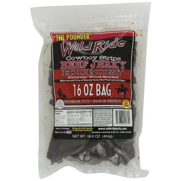 Wild Ride Beef Jerky Cowboy Strips, Hickory, 16-Ounce Bag [Hickory]