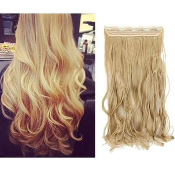 Fashion Women 17inch 140g Clip in Hair Extension Ash Blonde Curly Hairpiece One Piece Hair Wig Styled Like Remy Human Hair 3/4 Full Head 5clips