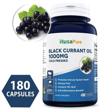 Black Currant Oil 1000 Mg 180 Capsules (NON-GMO & Gluten Free) Cold-Pressed Pure Black Currant Seed Oil - Hexane Free - 140mg GLA - Regulates Hormonal Balance - Immune System- Powder Caps