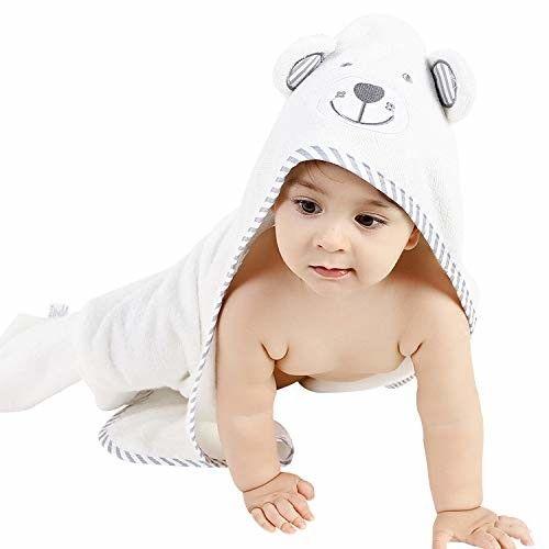 1 1 WHITE Set 100/%Organic Bamboo Bath Hooded Baby Towel PINK and Washcloth