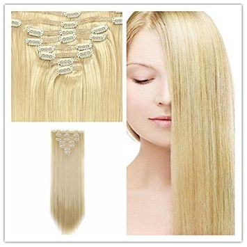 Blond Hair Clips in Hair Synthetic Hair Extensions Clip on ins hair Piece Full head