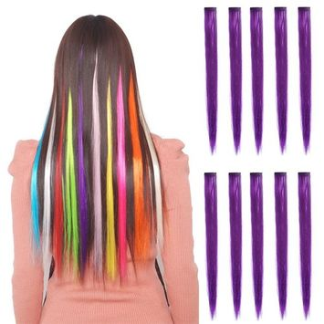 Colored Highlight Hair Extensions Clip In One Piece Color Strips Long Straight hairpiece