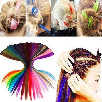Hair Extension, Kapmore 20Pcs Straight Heat Resistant Multicolor Hair Makeup Tool Hair Pieces with Hair Clip