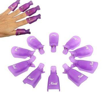 Rambling Nail Remover Caps, 10PC Plastic Acrylic Nail Art Soak Off Cap Clip UV Gel Polish Remover Wrap Tool (Multicolor Optional)