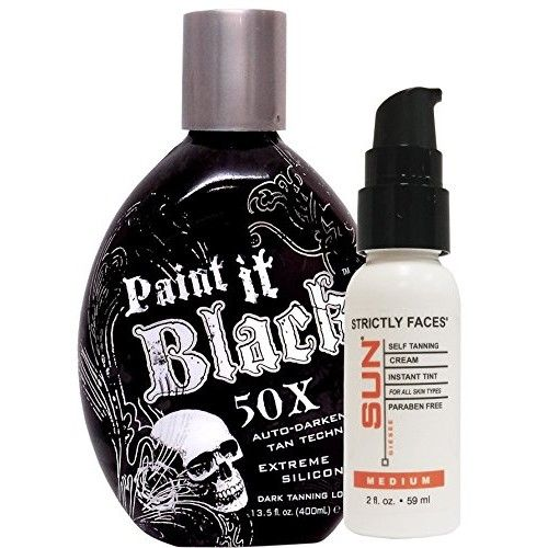 Millennium Tanning Paint It Black 50X,13.5 Oz | Strictly Faces Medium Self Tanner (lvl 2) 2 Fl Oz by Sun Laboratories - Body and Face