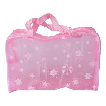 SODIAL(R) Floral Print Transparent Waterproof Cosmetic Bag Toiletry Bathing Pouch Pink