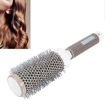 BigFamily 53mm Large Resin Ceramic Iron Round Comb Daily Nano Round Brush, Anti Static Thermal Round Brush Hair Dressing Salon Styling Tools Gray 53mm