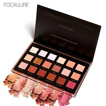 FTXJ Beauty Eyeshadow Palette Set FOCALLURE 18 Colors Pearlized Color Powder Cosmetic Eye Shadows Palette