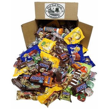 Chocolate Box (5 lbs) Assortment of M&M's Candy, Snickers, MilkyWay, Twix, Bulk Fun and Mini Size Snacks for your Christmas Stockings Gift, Party, Buffet, or Piñata