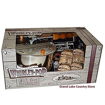 Amish Country Popcorn - 6 Quart Whirley Pop Stovetop Popcorn Popper Gift Set - with Recipe Guide - Old Fashioned, Non GMO, and Gluten Free -1 Year Freshness Guarantee