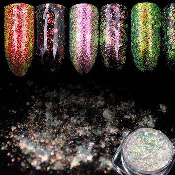 EchiQ Transparent Chameleon Flake Powder Nail Art Chrome Glitter Dust Dazzling Clear Galaxy Glitter Sheet Decoration Grass Green D8055