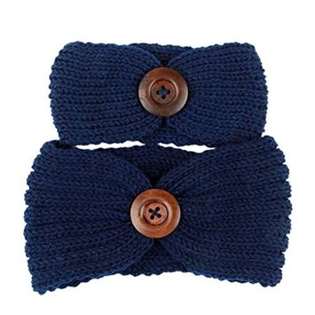 DEESEE(TM) Hairbands Family Knit Headband Crochet Mother And Baby Hair Band Headwrap (Mother And Baby(2PCS), Navy)
