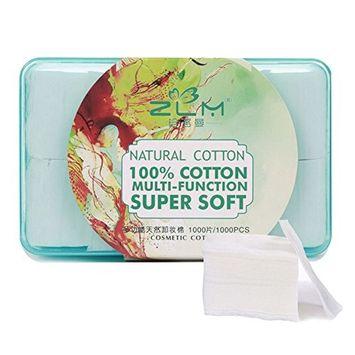 HaloVa Cotton Pads, Facial Soft Cut Makeup Cotton, Unbleached Boxed Makeup Remover Cotton Pads, 1000 Counts