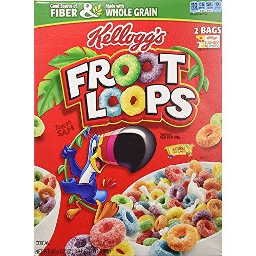 Kellogg's Fruit Loops Cereal, Froot Loops, 43.6 Ounce Twin Bag Box (Pack of 2)