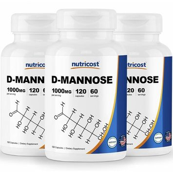 Nutricost D-Mannose 500 mg, 120 Caps (3 Bottles) - 1000mg per Serving, Non-GMO and Gluten Free