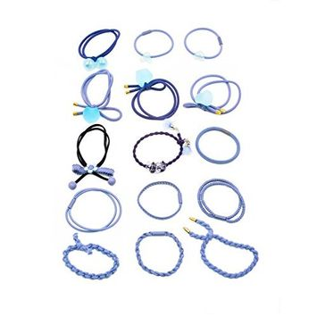 15 pcs Fancyin Assorted Colorful Popular Pony-hair Holders Hair Ties Elastic Hair-Bands for women (Blue)