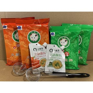 Little Sheep Hot Pot Soup Base With Dipping Sauce And 2 pcs Strianer ladleCombo Set (Clear Broth & Spicy Pack of 4)