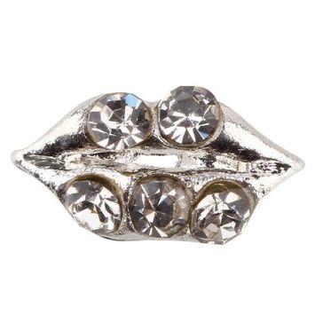 350buy 10pcs Fashion 3D Silver Alloy Lip Rhinestones For Nail Art Tips DIY Decoration
