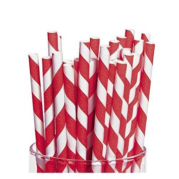 Red Striped Paper Straws 24 count [24]