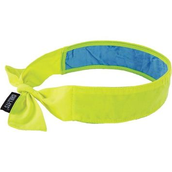Chill-Its 6700CT Evaporative Cooling Bandana with Cooling Towel, Lime, Tie Closure