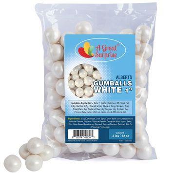 Gumballs in Bulk – White Gumballs for Candy Buffet – Shimmer Gumballs 1 Inch – Bulk Candy 2 LB [White]